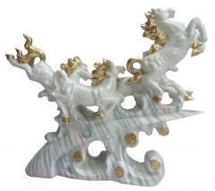 "Paras Magic 4 White Horse Showpiece(16.5X4X14.5"")"