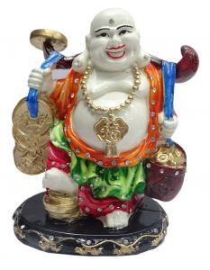 "Paras Magic Laughing Buddha Showpiece Orange and Green(5.X4X7"")"