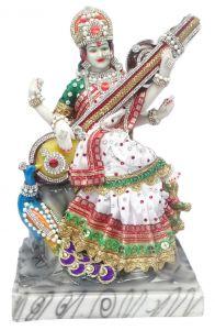 "Paras Magic Saraswati Mata Idol with Peacock(9X6.5X12"")"