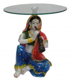"Paras Magic Rajasthani Woman Table(12X12X11"")"