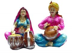 "Paras Magic Rajasthani Couple Pink & Blue(10X4.75X5.5"")"