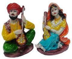 Paras Magic Rajasthani Couple Showpiece2 (5.5x4x7 inch) 2 Aprox
