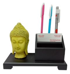 Paras Magic Wooden Pen Stand with Resin Buddha (8x4x6 inch)