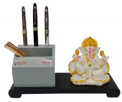 Paras Magic Wooden Pen Stand with Resin Patta Ganesh (9.5x4x4.5 inch)