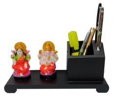 Paras Magic Wooden Pen Stand with Resin Lakshmi Ganesh (9.5x4x4.5 inch)