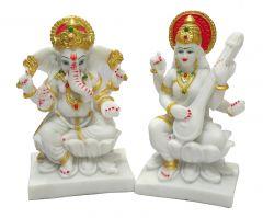 """Paras Magic Ganesh and Saraswati(7X2.75X7"""")(4.25X3.25X6.75"""")"""