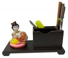 Paras Magic Wooden Pen Stand with Resin Krishna ji (9.5x4x4.5 inch)