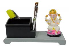 Paras Magic Wooden Pen Stand with Resin Ganesh Ji(9.5x4x5 inch)