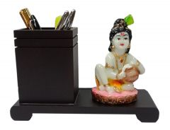 Paras Magic Wooden Pen Stand with Resin Makhan Chor (9x3.5x5 inch)