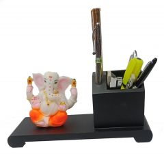 Paras Magic Wooden Pen Stand with Ganeshji (9.5x4x4.5inch)