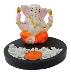 Paras Magic Wood Tea Light With Resin Ganesh Ji (6x6x5 inch)
