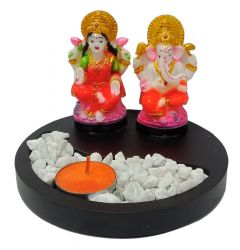 Paras Magic Wood Tea Light With Resin Laxmi Ganesh Ji (6x6x4 inch)
